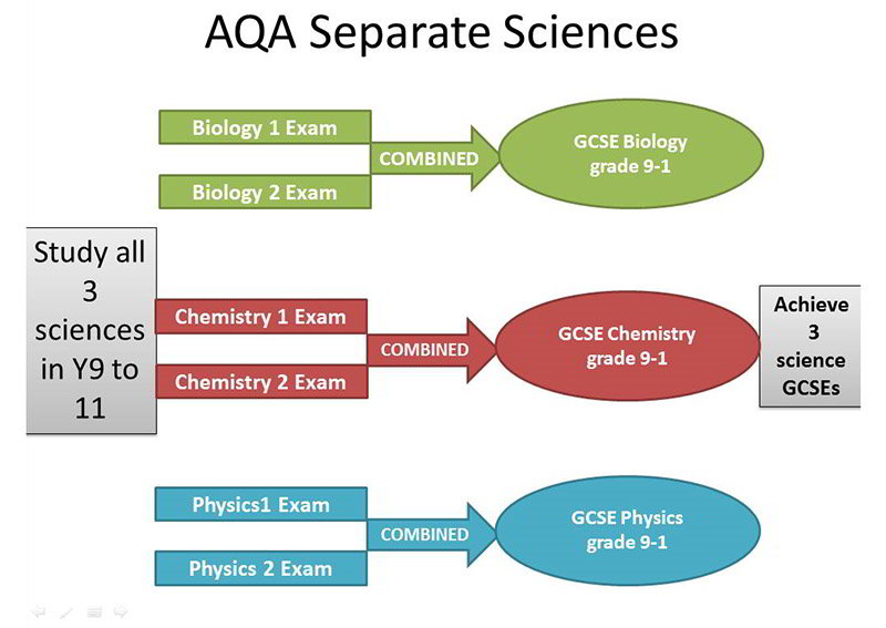 Assessment details for students studying separate sciences
